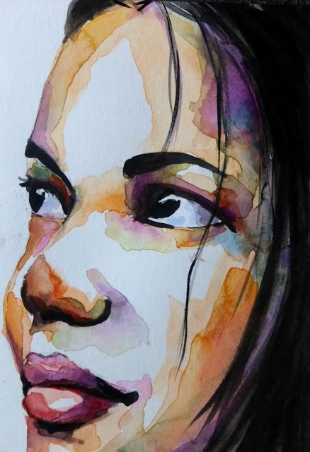 Aquarelle Portraits Aquarelle Portrait Dessin Portrait Abstrait