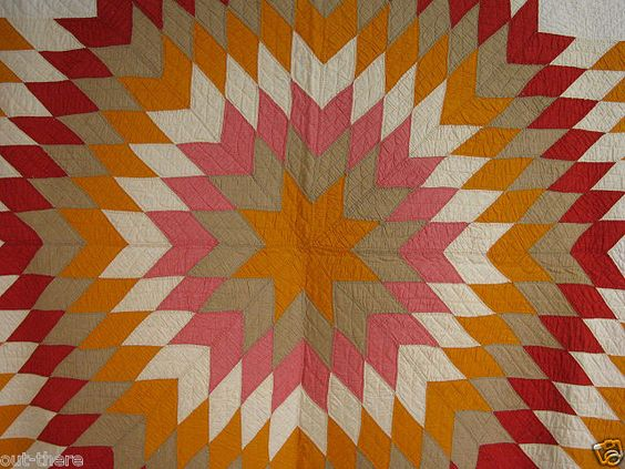 Lone Star Quilt, colorful, Circa 1880