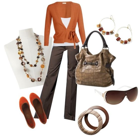 Orange and Tan Work Outfit