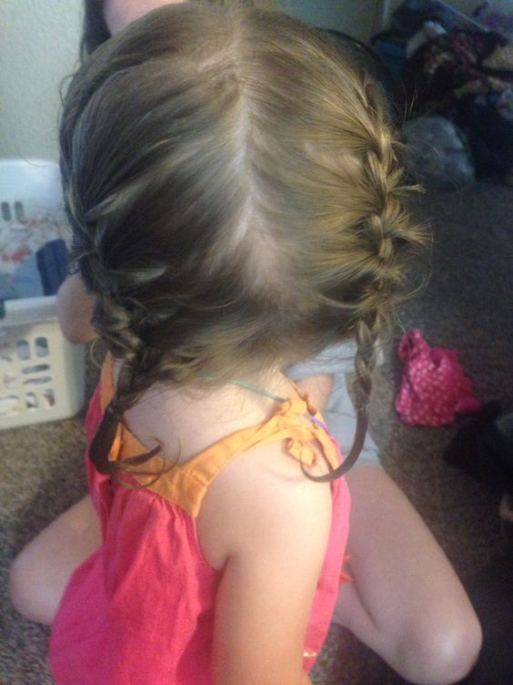 Baby hairstyles two French braids ♡