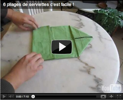 6 id es faciles de pliages pour vos serviettes tags - Pliage serviette facile et rapide ...