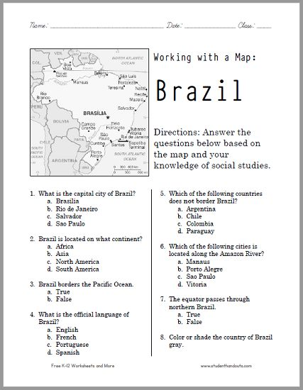 This free printable map worksheet of Brazil works wonderfully for ...