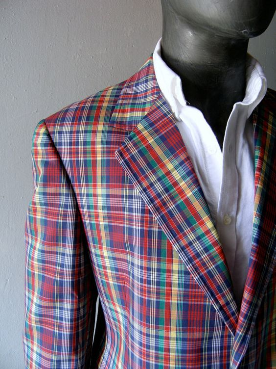 Mens plaid cotton blazer 44R - classic Palm Beach plaid colorful ...