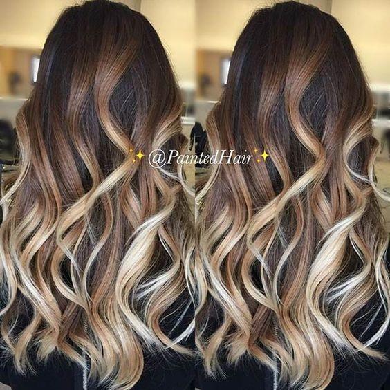 Caramel and Beige Blonde Balayage Highlights for Dark Brown Hair