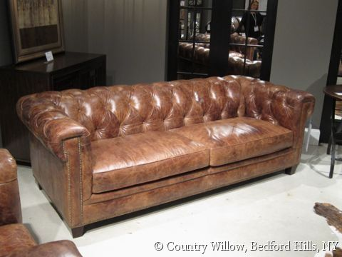 brown leather 2-cushion sofa with tufted back and nail heads- Country Willow Furniture