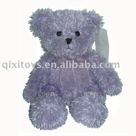 stuffed purple sitting teddy bear, colorful baby animal toy, $0.2~$2