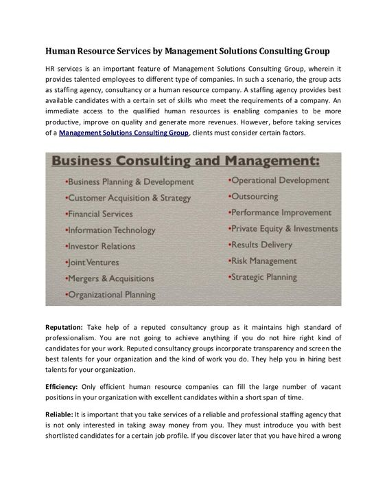· · Human Resource Services by Management Solutions Consulting - acquisition strategy