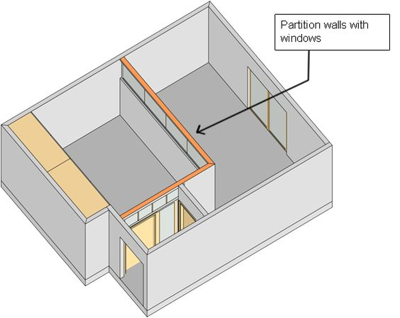 Divide A Large Room Into Two With Partition Wall 3d