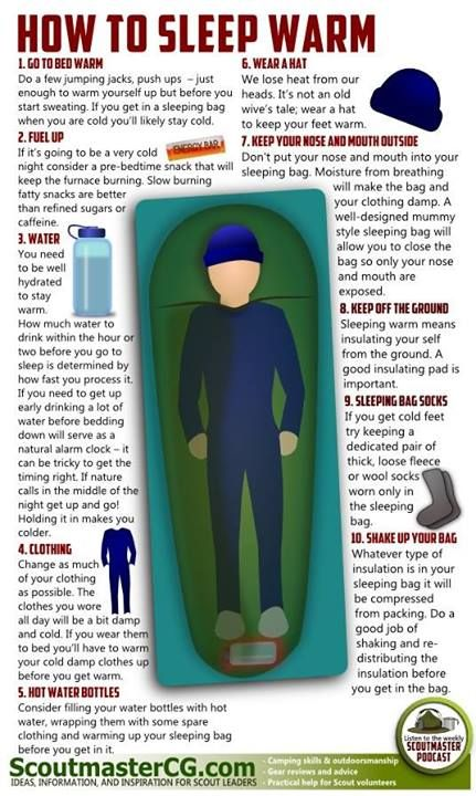 how to sleep warm while camping in the winter