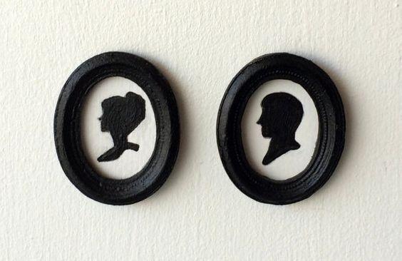 Cadre miniature silhouette victorienne femme ou par MadeInEven