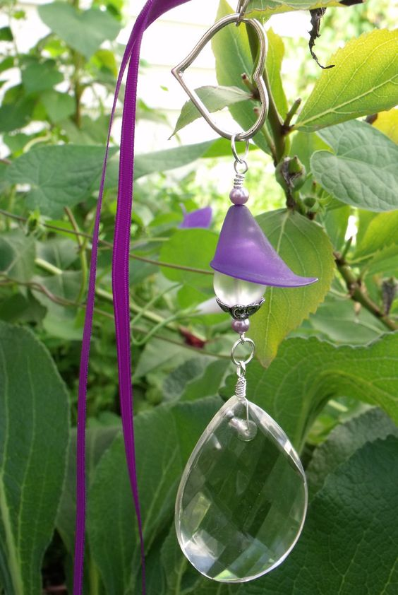 Purple Blossom Car Charm with Vintage Faceted Crystal Drop. $18.00, via Etsy.