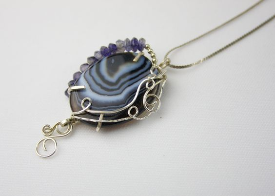 Botswana and Iolite Wire Wrapped with Sterling Silver Filled Pendant by Ann's Jewelry Collection (Esther Destiny's Jewelry) https://www.etsy.com/listing/158350471/botswana-with-iolite-wire-wrapped-with?