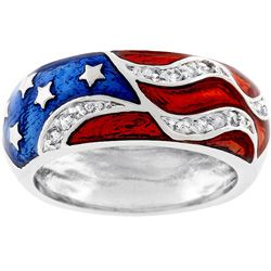 Kate Bissett Silvertone Patriotic Cubic Zirconia Ring: Love Red White And Blue, Flag Ring, 2010 Ringsizing, Glory Usa Red White Blue, Patriotic Ring, Jewelry Rings