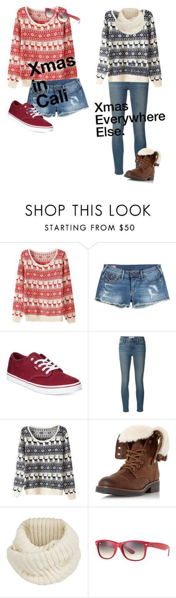 """Merry Christmas From Cali"" by brooklyncharden on Polyvore featuring True Religion, Vans, Frame Denim, Dorothy Perkins, Century Seven and Ray-Ban"