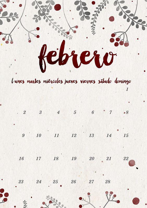 Laurdiy Calendar : Calendario febrero imprimible y fondo milowcost
