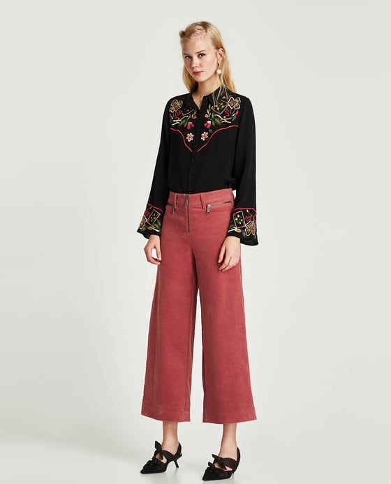 Image 1 of CORDUROY WIDE-LEG TROUSERS from Zara