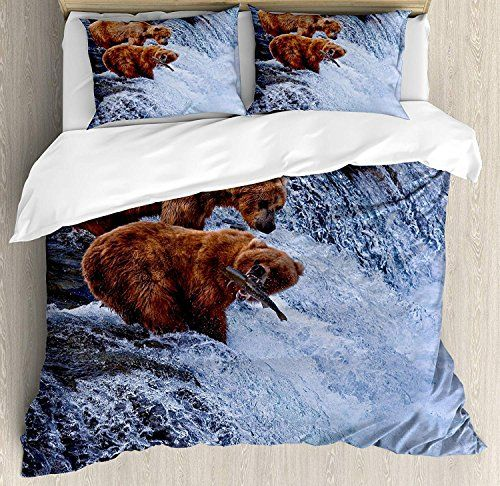 Africa Luxury Soft Brushed Microfiber Bedding Duvet Cover Set With Zipper Closure Grizzly Bears Fishing I Duvet Cover Sets Bed Duvet Covers Microfiber Bedding