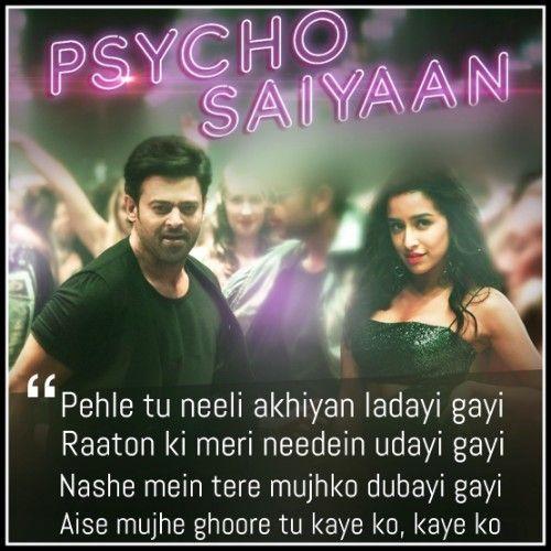Psycho Saiyaan Lyrics Saaho Dhvani B Sachet T Lyrics Song Qoutes Song Book