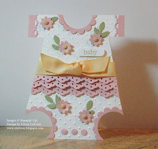 Cute Baby Card for a Girl...neck and legs punched with a circle punch...