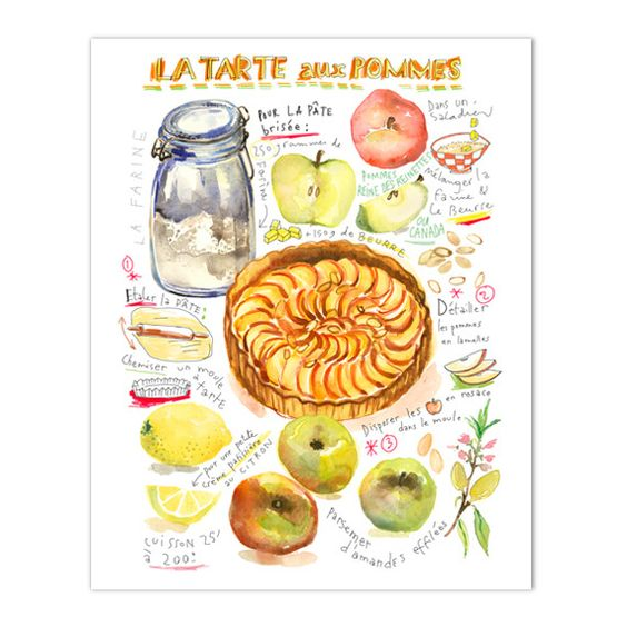 """French apple tart illustrated recipe Archival giclee reproduction print. Signed with pencil. Printed on fine art """" BFK Rives """" hot-pressed paper, smooth surface, 140 lb, 100% cotton (acid free ), usin"""