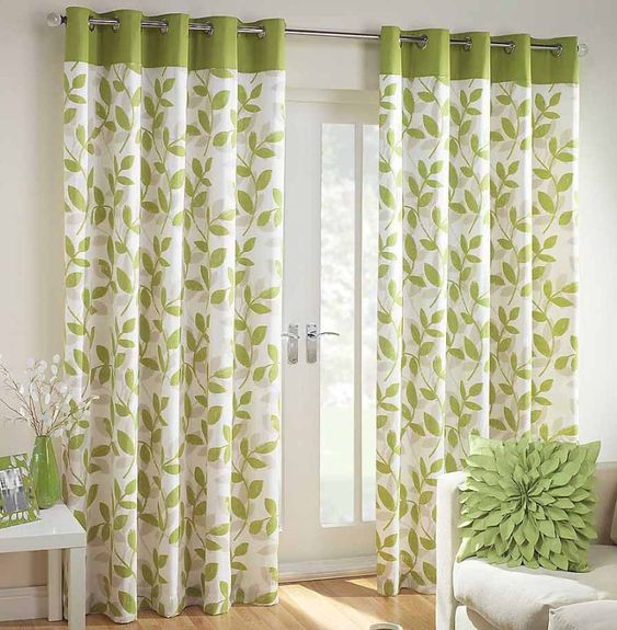 Interior Beautiful Green White Floral Curtain Window With Showy ...