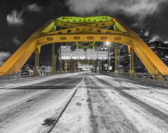 The entrance to Pittsburgh - The Ft. Pitt Bridge - Selective color - Metal Print