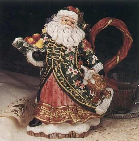 Fitz/Floyd Father Christmas Santa Teapot & Lid