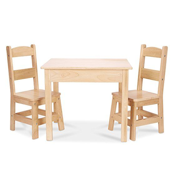 Melissa Doug Solid Wood Table And 2 Chairs Set Light Finish Furniture For Playroom
