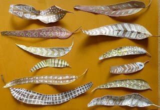 gretchen's art blog: white paint pen/eucalyptus leaf designs. Great for Australian/aboriginal project or just for fall.