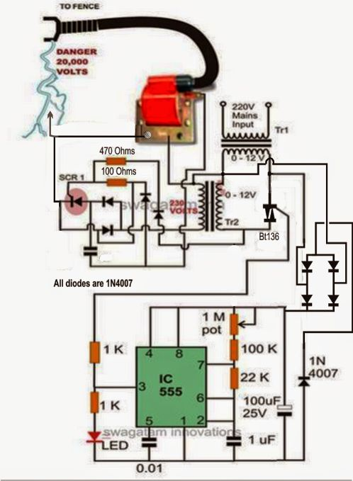 4a9ec012a16ccab904b5cf319d25c8a6 electric fencing electronic circuit electronic circuit projects a homemade fence charger, energizer electric fence wiring schematic at n-0.co