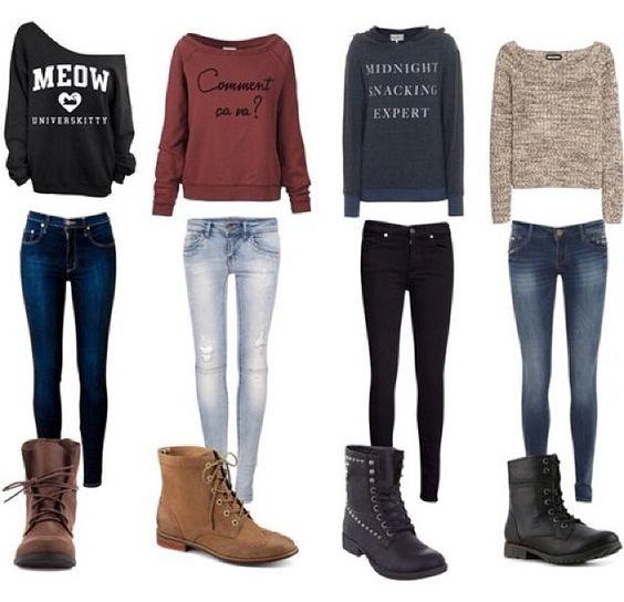 1. Llevo el pantalón azul. Llevo el suéter negro y blanco..llevo los zapatos café.  2. Llevo el pantalón azul. Llevo el suéter rojo y negro. Llevo los zapatos café.  3. Llevo el pantalón negro. Llevo el suéter gris y blanco. Llevo los zapatos negro. 4. Llevo el pantalón azul. Llevo los zapatos negro. Llevo el suéter café.: