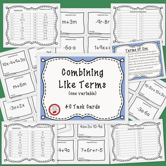 Combining Like Terms Doodle Notes – Combining Like Terms Printable Worksheets