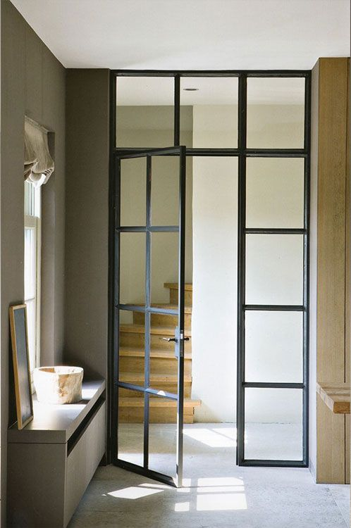 Artsteel Crittall Style Internal Glass Doors For Study And China Cabinet Part Clear Glass Lower Sections Doors Interior Windows And Doors Door Glass Design