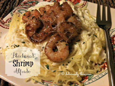 The single best low carb recipe that I have created in a long time.  This blackened shrimp alfredo is low carb comfort food at its best.