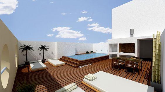 Guia de jardin terraza con piscina balc n pinterest for Casa moderna con jacuzzi