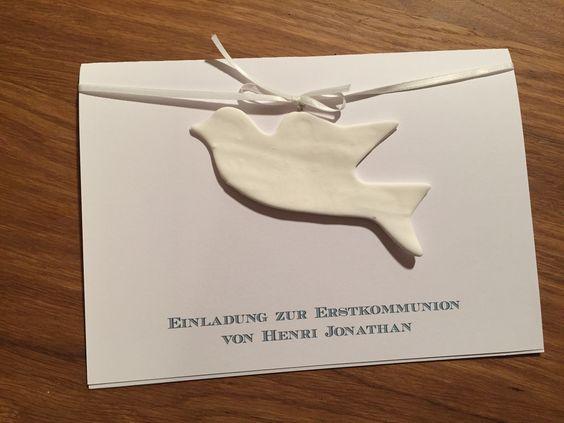 Einladung zur Kommunion  #Kommunion #Fimo #Taube