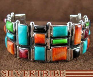 Multicolor Inlay Sterling Silver Jewelry Whiterock Link Bracelet NS39331 Price:  $1,079.98  Now $539.99