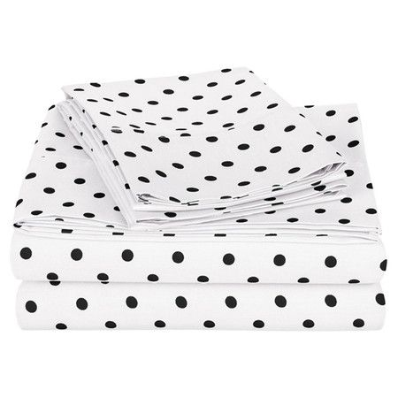 Add a charming touch to your guest room or little one's bed with this cotton sheet set, showcasing a polka-dot motif.   Product:
