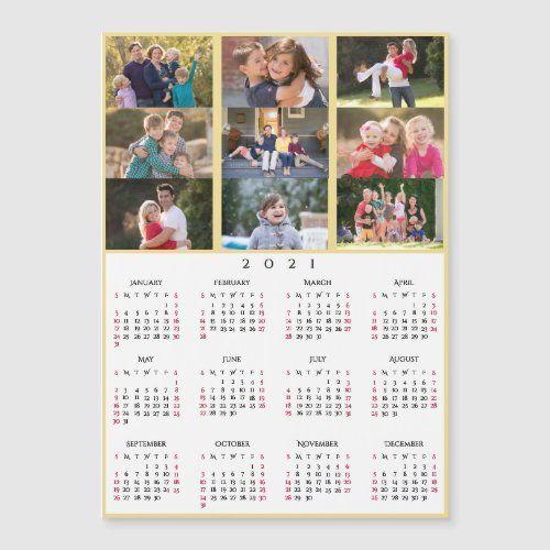 9 Photo Collage Personalized 2021 Family Calendar Zazzle Com Family Calendar Custom Holiday Card Photo Collage