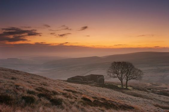 autumn, haworth moorland, west yorkshire, england, the ruin is top withens, said to be the inspiration to emily bronte for the earnshaws' house in wuthering heights