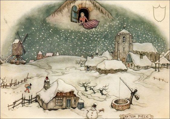 Mother Holle She can make snow by shaking her pillow and making her bed story http://www.grimmstories.com/en/grimm_fairy-tales/mother_hulda another version here http://www.apples4theteacher.com/holidays/winter/short-stories/mother-frost.html
