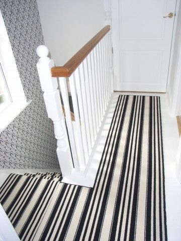 black and white striped carpet runner on landing stairs. Black Bedroom Furniture Sets. Home Design Ideas