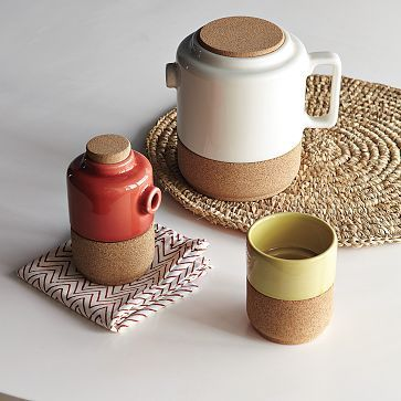 cork and ceramic tableware