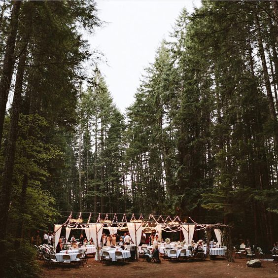 """Magical woodland camp for wedding reception. #woodlandwedding"