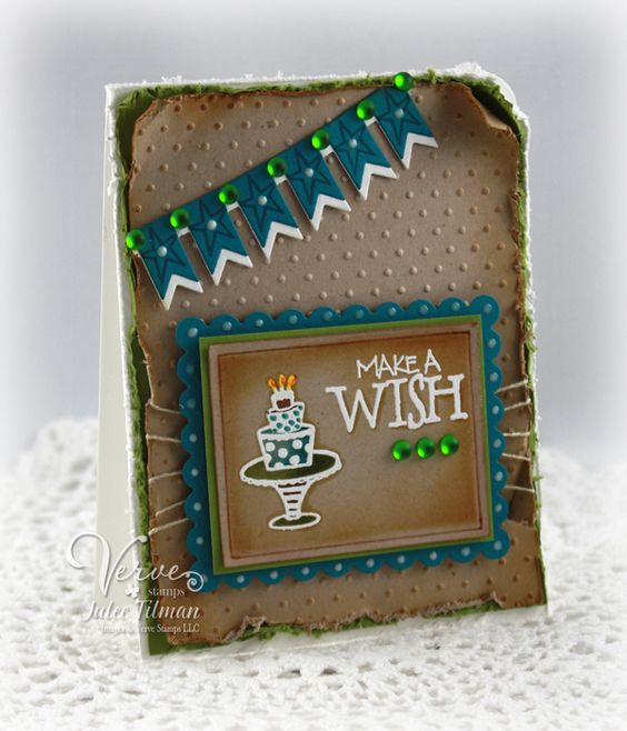 Birthday card by Julee Tilman using stamps and dies from Verve Stamps.