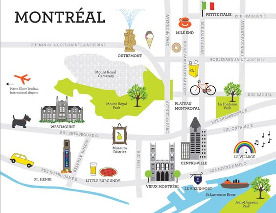 An easy map for exploring Montreal Perfect for the upcoming road – Quebec Tourist Attractions Map