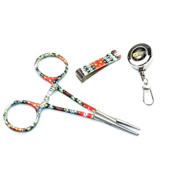 Fly fishing vest tool kit zinger with brook trout print for Fly fishing nippers