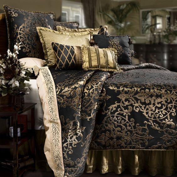 Glenwood Black And Gold Reversible Comforter Set By