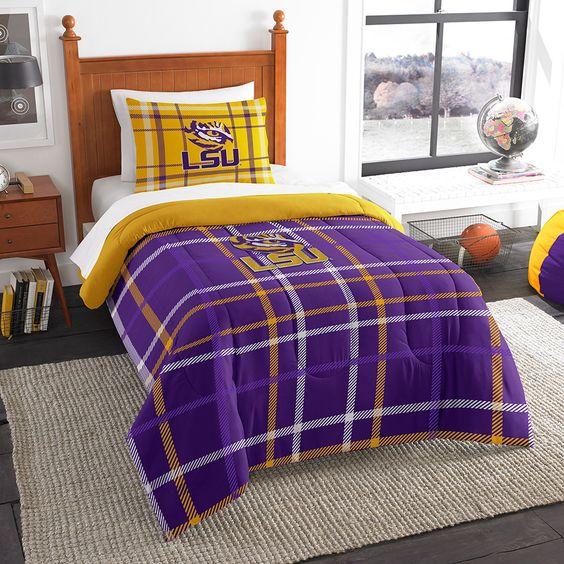 LSU Tigers NCAA Twin Comforter Set (Soft & Cozy) (64 x 86)