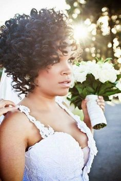 Short naturally curly wedding hairstyles